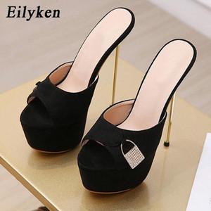 Eilyken New Design Crystal Lock Decoração Mulheres Plataforma Chinelos Moda Metal Stiletto Salto Sandálias Senhoras Stripper Shoes # JA20