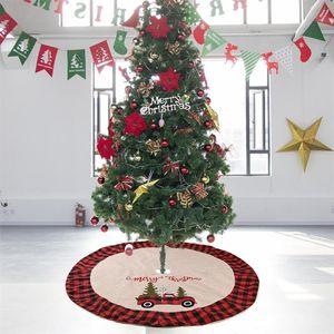 Christmas Xmas Ornaments 48 pollici Albero gonna scozzese a doppio strato Controllato Decorazioni di natale a casa Dropshipping