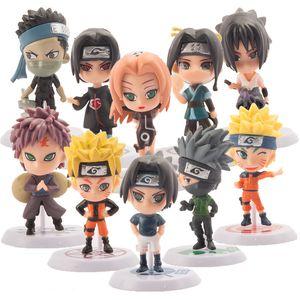 10 Pcs estatueta naruto anime naruto figura brinquedos sasuke kakashi sakura gaara pvc ação figura brinquedos modelo coleção de bonecas de presente 1008