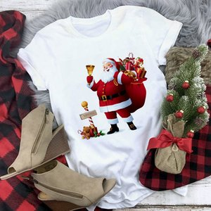 woman T-shirt 2020 Christmas lady short sleeve T-shirt cartoon antler print Street casual top large women's dress