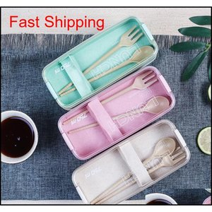 750ml Healthy Material Wheat Straw Bento Boxes 2 Layer Lunch Box Microwave Dinnerware Food Storage Contain qylKEW packing2010