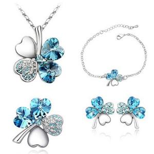 Düğün Kolye Stud Takı Dört Kalp Kristal Kolye Moda Nostaljik Leaf Clover Broş Takı Bilezik Küpe bbyop ayarlar