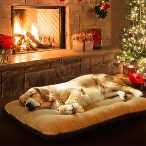 Winter Dog Beds For Large Dogs Thick Pet Bed kennel House Puppy Cat Mat Cushion Fleece Lounger Sofa Blanket cama perros XL Y200330