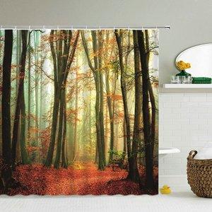 3d Forest Cortinas Cortinas Baño paisaje paisaje de la ducha a prueba de agua con los ganchos de la decoración del hogar de tela lavable baño X1018 pantalla