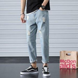 Erkek Delik Jeans Gevşek Düz Bacak Ayak bileği uzunlukta Moda All-maç Pants Kore tarzı Trend Kot Pantolon yalvaracaktın