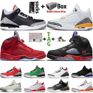 2021 Jumpman alta OG 5 Top Nero metallizzato 5s Mens delle donne 3 3s scarpe da basket Frammento Knicks Rivals raso Chicago allenatori sportivi Sneakers