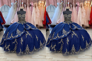 Charming Gold Embroidery Navy 2021 Quinceanera Prom dresses Sweetheart Satin Corset Back Beaded Ball Gown Long Formal Party Sweet 16 Dress