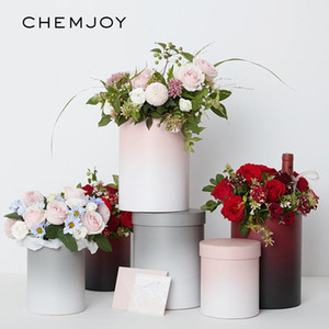 Set of 2 Gradient Color Flower Box with Lid Hug Bucket Bouquet Rose Box Wedding DIY Decoration Party Floral Gift Packaging Boxes