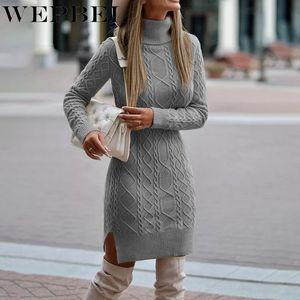 WePbel mulheres elegante outono inverno malha camisola vestido casual cor sólida cor manga longa gola split bodycon vestido j0125
