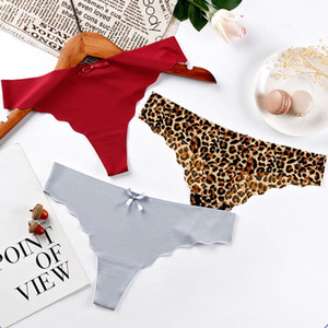 Women Sexy Panties Ice Silk Seamless G-String Lingerie Thongs Ultra-thin Briefs comfort Underwear soft Underpants 3pcs lot #F