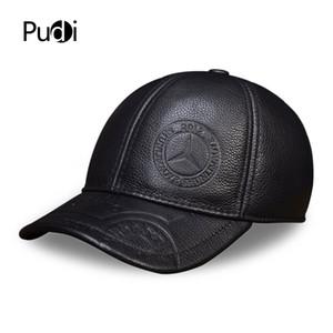 HL023 Spring genuine leather men baseball cap hat high quality men's real leather adult solid adjustable snapback earsflap hats 201021