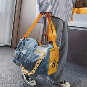 Mode Oxford Reisetasche Frauen / Männer Handgepäck Taschen Fall Big Travel Duffle Weekend Tasche Männlich / Weibliche Denim Patchwork Gym Bags