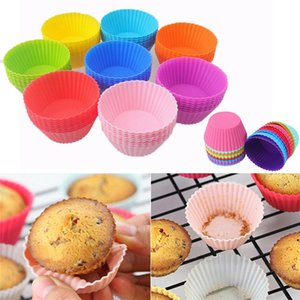 Silicone 7cm Muffin Cupcake Moulds Cake Cup Round shape Bakeware Maker Baking Mold Colorful Tray Baking Cup Liner Molds 9 colors Z42
