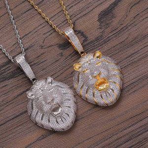Trendy Hip Hop Lion Head Pendant Necklace Copper Cubic Zirconia Rapper Street Dance Popular Jewelry High Quality Gold Silver