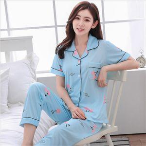 womens Pajamas Sets Sleepwear 2 Pieces Pyjama Set Sleep Lounge Long Sleeves Turn-down Collar Pocket Decor Top+Pants 2pcs nightwe Y0112