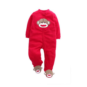 Baby Jumpsuit Long-Sleeved Baby Spring and Autumn Winter Polar Fleece Men and Women Childrens Foot Romper Outing Clothes Warm Romper
