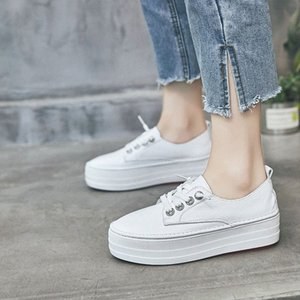 2019 Spring New Style Platform White Shoes Womens Elevator Shoes Korean Style Thick Bottomed STUDENTS Versatile WOMENS Oxford Shoes Te BLCU#
