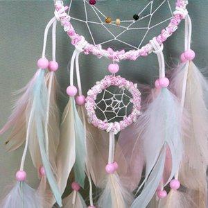 Colorate a mano Dream Catcher piume da auto e Wall Hanging Decoration ornamento regalo Wind Chime Craft Decor Supplies BWE2863