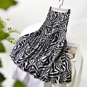 2021 Новая высокая талия Весна из женской Винтаж Линия Площадь Мода Стрельсы Два слоя Женщины Длинные Faldas Femme Jupe юбка O3HE