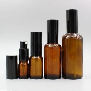 200pcs 10ml 15ml 20ml 30ml 50ml brown glass fine mist spray bottle,electrochemical aluminum nozzle and lid