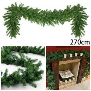 1pc Christmas Garland 270CM 200-Heads Christmas Xmas Garland Vine Artificial Pine Green Spruce Decoration