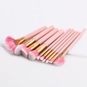 ROMANTIC BEAR High-grade Makeup Brushes set wood handle Synthetic hair 4 10pcs tools set fanshaped Brushes 12sets lot DHL Free