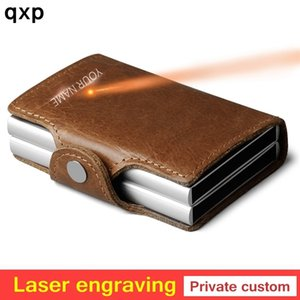 Men double Aluminum 100% Genuine Leather Credit Card Holder RFID Metal Wallet Automatic pop up Anti-theft Purse ID Cardholder LJ200907
