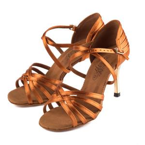 Профессиональные латинские танцы обувь оптом атласная смуглые мягкой нижней Ballroom Женской обуви Конкурс предпочтительной BD2324 201017