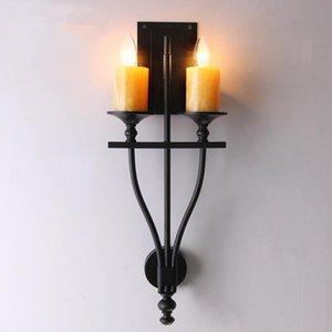 American Country Wall Lamp Aisle Retro Doppia Testa Marmo Candela in ferro battuto Ferro da camera da letto soggiorno Lampada da parete da letto