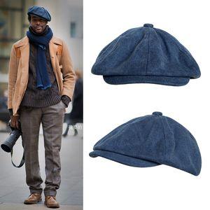 New Casquette Cotton Canvas Blue Men's Newsboy Hat Gentleman Berets Lady Retro England Cowboy Hat Literary Octagonal Cap BLM43 201106