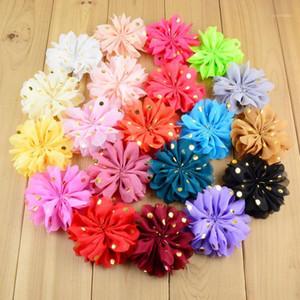 """Nishine 50 adet / grup 3.2 """"Chiffon Çiçek Altın Nokta Saç Çiçekler Kumaş Çiçek Çocuklar Için Bebek Kız DIY Kafa Saç Aksesuarları1"""