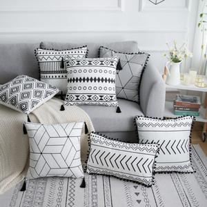 Boho Cushion Throw Pillow Cover Tassels Embroidery Cotton Decorative Pillowcase 45*45cm Sofa Cushion Cover Stripe Pillow Case