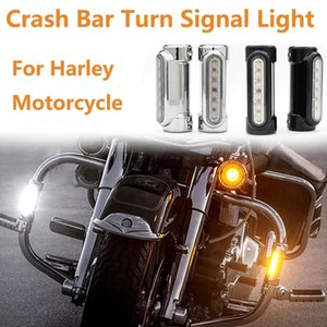 Motorcycle Highway Bar Switchback Turn Signal Light White Amber LED For 883 Victory Softail FatBoy Dyna Road King Touring