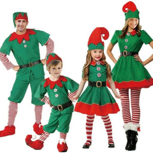 Women Men Boy Girl Christmas Santa Claus Costume Kids Adults Family Green Elf Cosplay Santa Fancy Dress Costumes Carnival Party