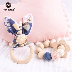 Let's Make 2pc 1lot Teether Bunny Ear DIY Teething Wooden Bracelets Made Beech Animals Shower Gift Play Gym Toy Baby Rattle Q1219