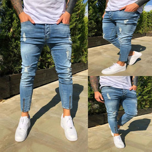 Stretchy Cropped Pants Men Brand New Destroyed Ripped Biker Jeans Casual Slim Fit Skinny Pencil Pants Designer Denim Trousers1