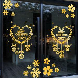 Stickers New Year's Day snowflake scene wall shop window decoration glass door sticker