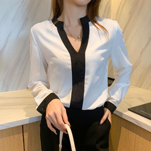 Woman Feminina Women'S Vintage Blouse Fashion Clothes 2021 Spring Autumn Long Sleeve V-Neck Shirts Female D0189