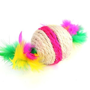 Random Color Pet Accessories Playing Home DIY Rolling Cat Toy Exercise Rotatable Feather Sisal Ball