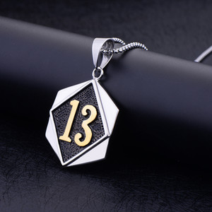 New hip hop titanium steel lucky number 13 men's pendant necklace Wholesale free freight