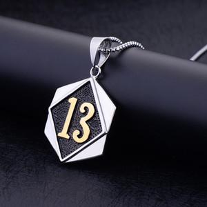 New hip hop titanium steel lucky number 13 men's pendant necklace Wholesale free freight
