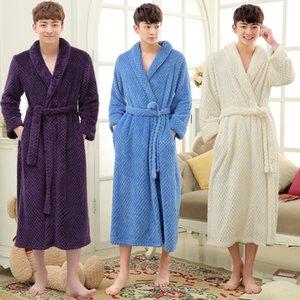 Hot Sale Men Long Winter Thick Warm Bath Robe Men Silk Soft Flannel Bathrobe Mens Dressing Gown Male Kimono Robes Man Bathrobes 201109