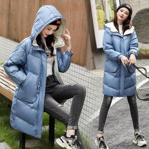 FNOCE 2020 winter new women's down jackets young fashion casaul solid long sleeve hooede zipper slim long down parka coat jacket
