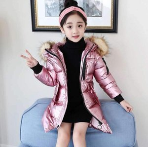 Children Long Padded Coats Girl Winter Coat Kids Warm Fur Hooded Thickening Cotton Padded Coats high Children's cotton coat LY113