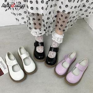 Cate Sweet Shoes Otoño Niñas Lolita Zapatos de Patente Cuero Mujer Mary Janes Zapatos Plataforma Mujer Pisos Redondos Toe Señoras # TA2I
