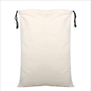 Resuable 캔버스 졸라 매는 끈 가방 선물 패키지 보관 파우치 화장품 코튼 캔버스 핸드백 빈 흰색 여행 용품 바다 배송 IIA713
