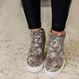 Hot Sale-New style fashion camoflouge women boot green camo Wedges Platform heel button lady ankle boot shoes