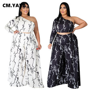 CM.YAYA Plus Size XL-4XL Sweatsuit Frauen-Set One-Shoulder-Crop Top Straight Pants Set Active Anzug Zweiteiliger Outfit
