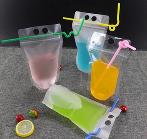 17oz 500ml Clear Drink Pouches Bags Frosted Zipper Stand-up Plastic Drinking Bag With Straw With Holder Reclosable Heat-proof bbyXUrN