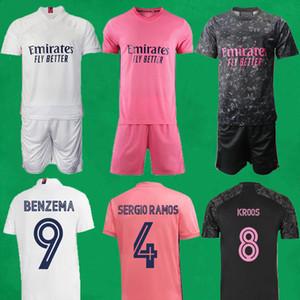 20 21 Jerseys de football de Madrid Real Madrid Court Accueil Troisième Kits de football Hazard Zidane Benzema Chemise de football Camiseta de futbol Men Hommes Ensembles